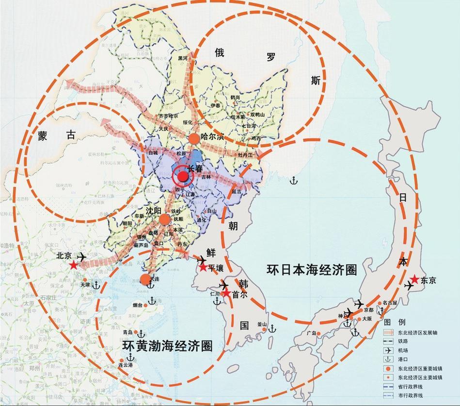 长春市区域位置图(东北亚经济圈)图片