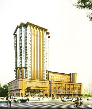 投资建设的五星级酒店——长春建国大饭店的施工现场