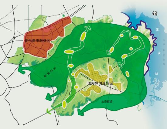 长春莲花山生态旅游度假区空间结构规划图